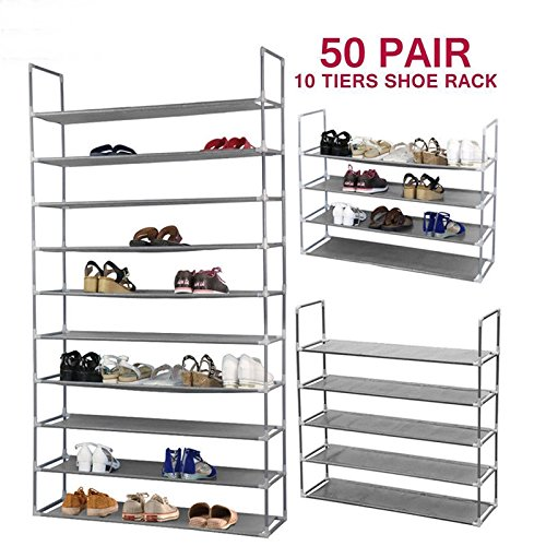 Storage Organizer Rack Shoe Shelf Closet Cabinet Tier 10 Portable Layer Space Saving Pair Tower Standing Shoes Home Free (Bamboo Singapore Furniture Rattan)