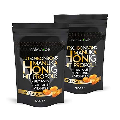 Natrea Manuka Honig Bonbons 400 MGO  mit Zitronengeschmack und Propolis im Doppelpack | 100 g im wiederverschließbaren ZIP Beutel