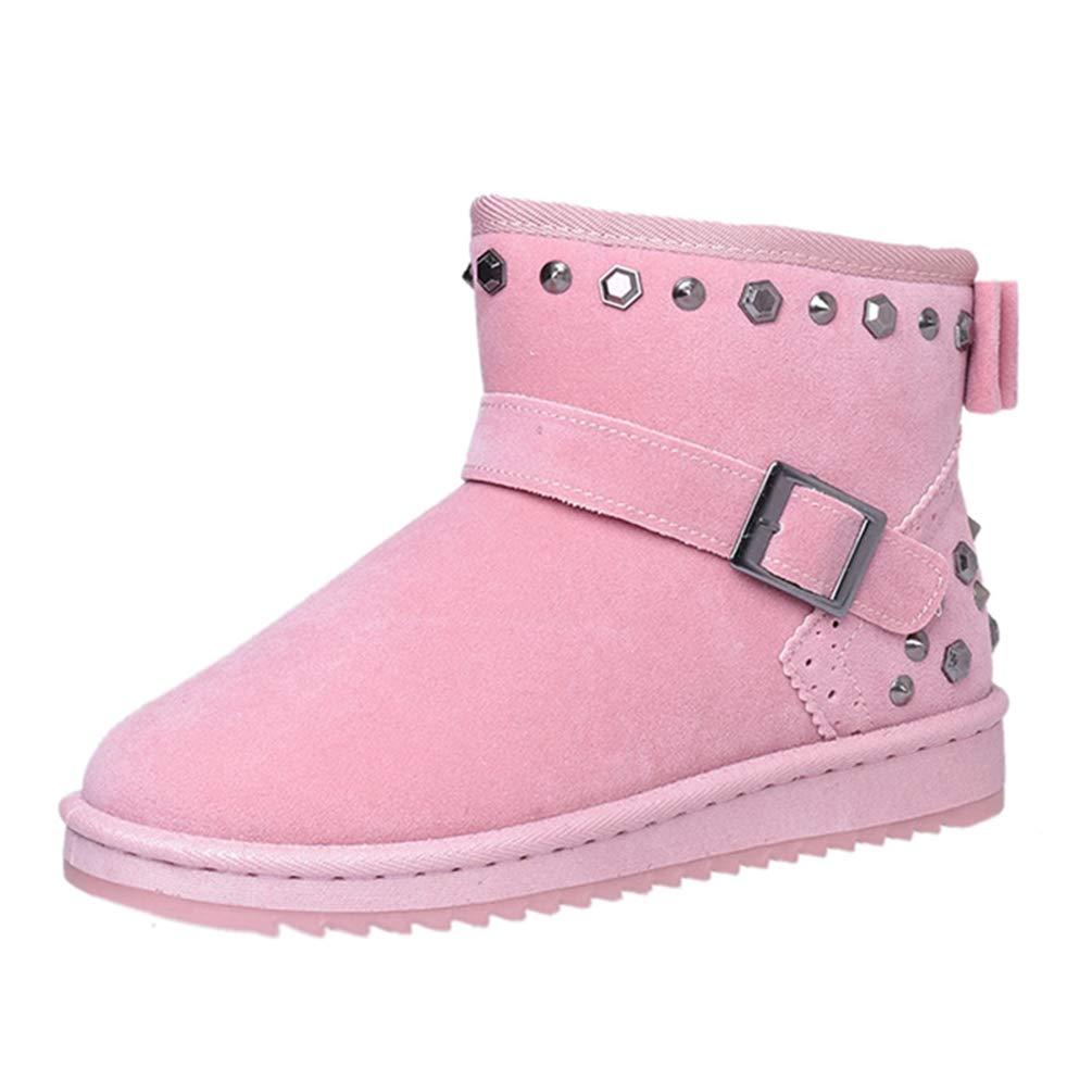 JOYBI Women Winter Snow Boots Flat Rivet Bcukle Platform Ankle Boots Soft Sloe Warm Fur Cotton Short Boots
