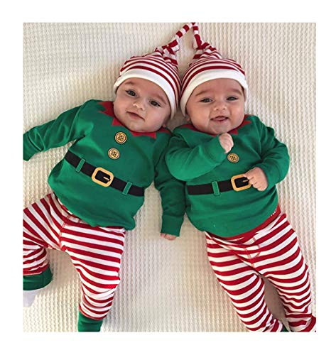 2018 Christmas Baby Boys Girls Cute Elf Costume Long Sleeve Romper Pants Hat Outfits Winter Clothes Set (Green, 6-9 -