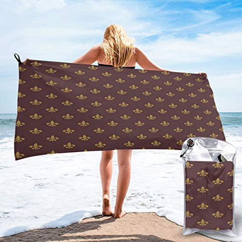 K0k2to Fast Drying Beach Travel Camping Towel,French Inspired Pattern European Culture Abstract Vintage Renaissance,Quick Dry Lightweight Bath Towel