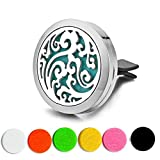 Cheap Car Air Freshener Aromatherapy Essential Oil Diffuser Vent Clip Fragrance Air Purifier Stainless Steel Magnetic Locket 6 Colorful Felt Refill Pads,Best gifts for drivers. (Ocean waves)
