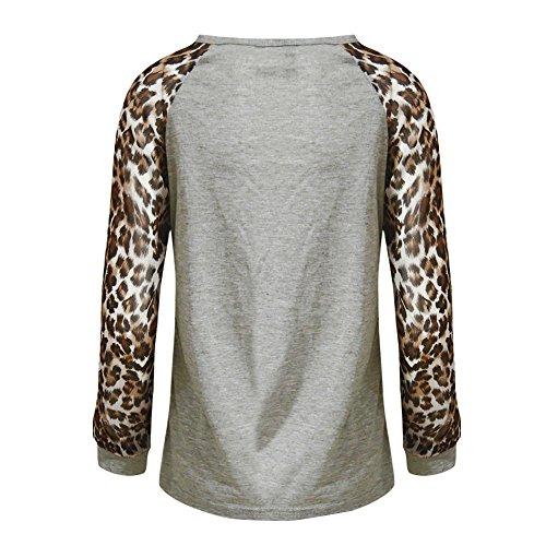Casual Longues T Patchwork Femme Longues Manches Shirt Chemisier 5XL Tops Chemisier Oversize Gris Covermason Femmes Shirt Manches T Tops S Leopard 1PwOgCq1