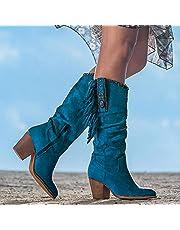 Women's Western Cowgirl Cowboy Laarzen Breed Kalfspuntig, Mid-Heel Borduurwerk Mid-Tube Knight Boots
