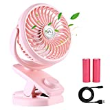 BTOOP Rechargeable Battery Operated Clip on USB Desk Fan,4400mAh Battery/USB Powered Fan Mini Portable Personal Fan for Baby Stroller, Car, Gym, Office, Outdoor, Travel, Camping (pink)