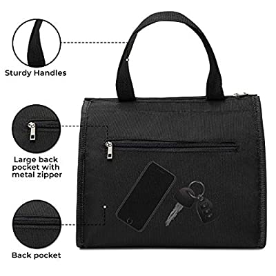 Cali & Wolf Lunch Bag, Insulated lunch bag, Lunch Tote, Multiple Pockets, Water- Resistant & Sturdy (Black): Kitchen & Dining