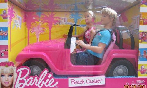 Barbie BEACH CRUISER Jeep Vehicle Car w KEN & BARBIE Doll (2010)