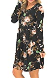 Simier Fariry Women Long Sleeve Floral Print Pockets Pleated Tunic Dress Black L