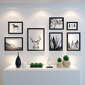 HJKY Fotorahmen Wand Set Skandinavische Fotowand Kreative Rahmenkombination  Wohnzimmer Wandrahmen Moderne Einfache Foto Wanddekoration