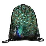 MCWO GRAY Beautiful Peacock Drawstring Bag Backpack Draw Cord Bag Sackpack Shoulder Bags Gym Bag Large Lightweight Gym For Men And Women Hiking Swimming Yoga