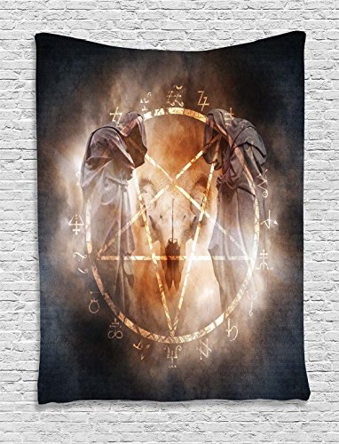 (Ambesonne Horror House Decor Tapestry by, Pentagram in Flames Black Magic Ceremony Ritual Lucifer Demonic Skull, Wall Hanging for Bedroom Living Room Dorm, 40WX60L Inches, Gray Orange )