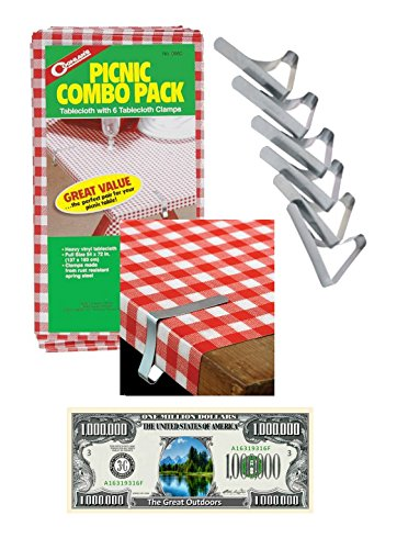 Picnic Combo Pack Tablecloth with 6 Clamps and Bonus Bill