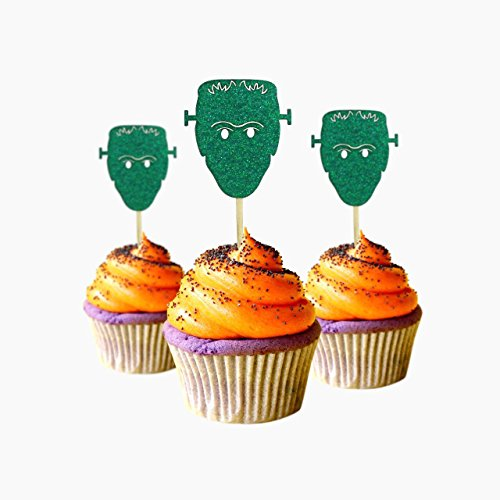 Monster Halloween Cupcake Topper 12 pieces per Pack Decoration Cake glitter Card Stock Green