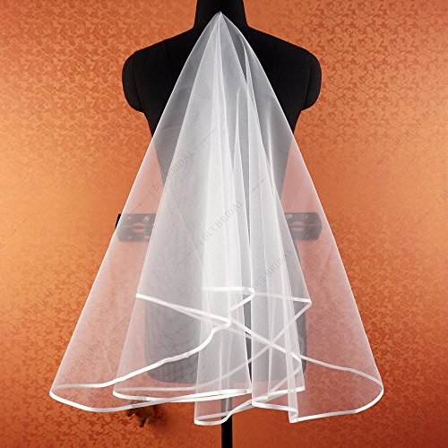 New Style Real Photo Simple Ribbon Edge Wedding Veil Bridal Hair Accessory Cover