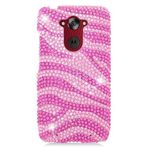 Insten Zebra Rhinestone Diamond Bling Hard Snap-in Case Cover Compatible with Motorola Droid Turbo, Pink/Hot Pink