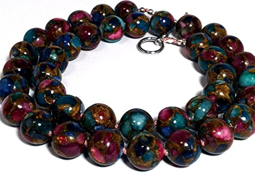 Impressionism necklace; Multi-color ceramic beads; Hand-knotted; Pink, turquoise, blue, gold, green string necklace; Hug me I'm Irish necklace; Handmade in USA;