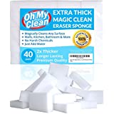 (40 Pack) Extra Large Magic Cleaning Eraser Sponge - 2X Thick, 2X Longer Lasting Melamine Sponges in Bulk - Multi Surface Power Scrubber Foam Pads - Bathtub, Floor, Baseboard, Bathroom, Wall Cleaner
