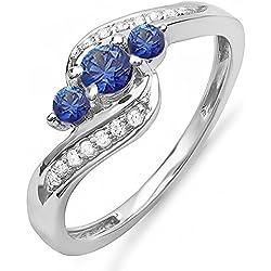 14K White Gold Round Blue Sapphire And White Diamond Ladies Swirl Engagement 3 Stone Bridal Ring