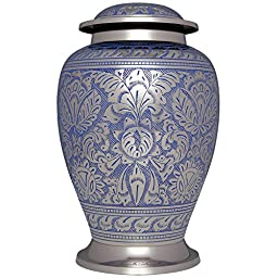 Funeral Urn By Liliane - Cremation Urn for Human Ashes - Hand Made in Brass with Beautiful Silver and Light Blue Color Finish - Display Burial Urn At Home or in Niche At Columbarium. Celeste Model