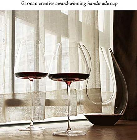 ZKHD Vidrio de Cristal Plomo, Vidrio de Vino Borgoña Grande soplado a Mano, Copa de hogares 800ml / 28oz,Bordeaux 950ml/33oz