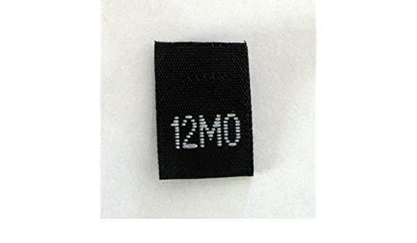 TWELVE SIZE TAGS SIZE 12 100 PCS BLACK WOVEN SEWING CLOTHING LABELS