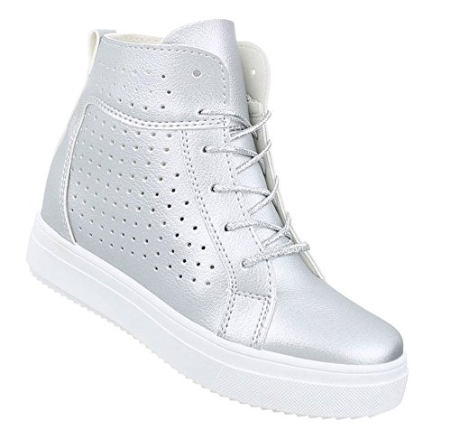 Schuhcity24 Damen Schuhe Freizeitschuhe Keil Wedges Sneakers Silber