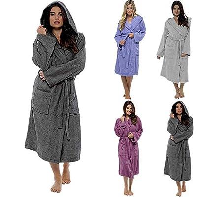 HULKAY Lady Upgrade Luxury Soft & Cosy Hooded Dressing Gown Womens Soft Spa Full Length Warm Light Bathrobe