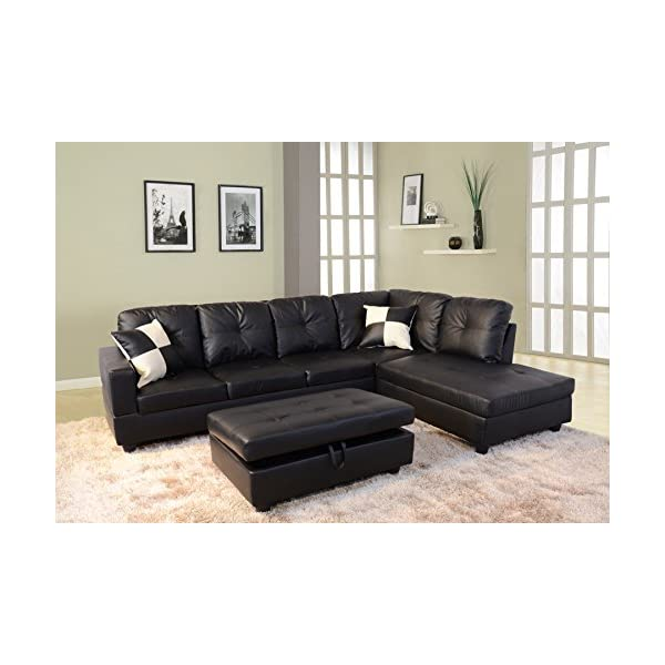 Beverly Fine Furniture F091B Right Facing Russes Sectional Sofa Set with Ottoman, Black