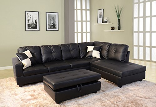 Beverly Fine Furniture F091B Right Facing Russes Sectional Sofa Set with Ottoman, F091B BLACK