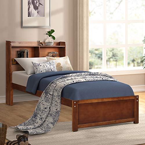 (Platform Twin Wood Bed Frame with Headboard and Bookcase, Extra Long Wooden Support Slats Bed Frame, Walnut Finish by Harper&Bright Designs)