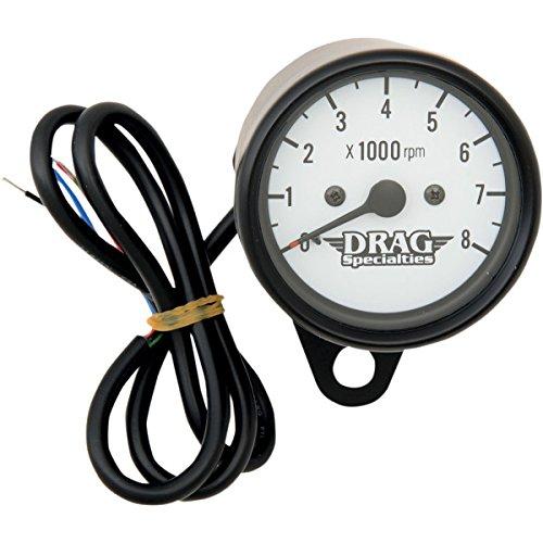 DRAG ミニ電子タコメーター 8000rpm 黒ボディ/白フェイス/黒針 2211-0120   B01LX15P0A