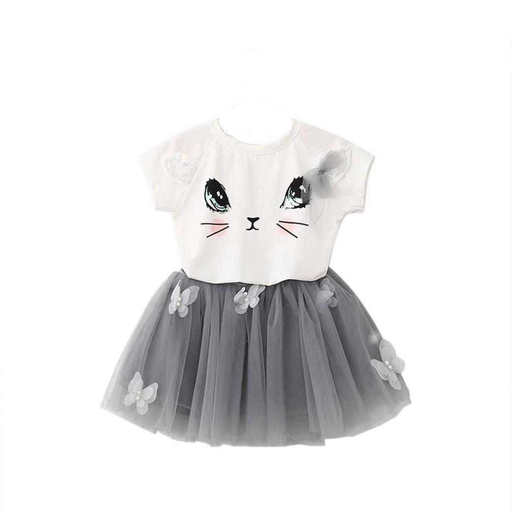 52e62744 Amazon.com : Dresses Girl, Kids Girls Cat Pattern Shirt Top Butterfly Tutu  Skirt Set Clothing (0-3Years, White) : Beauty