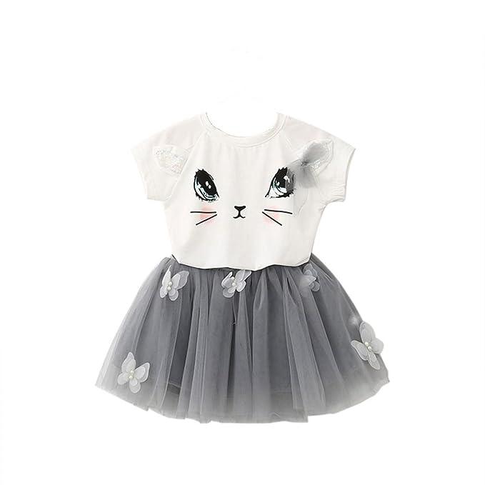 0dc282f60120b7 Goosuny Kinder Mädchen Shirt Und Rock Katzen Drucken Tops Oberteil Kurzarm  Sommertop Schmetterling Tutu Röcke Kurz