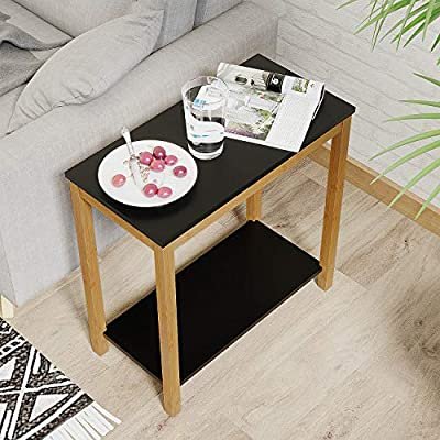 BAMEOS Bamboo Side Table Console Side Table, 2-Tier End Accent Table with Storage Shelf, Modern Furniture for Living Room Bedroom Balcony Family and Office in Black Color(23.62 x 11.81 x 23.23 in) - 【RENEWABLE MATERIAL】 The surface is smooth enough with sturdy MDF panel material and UV paint, and the legs of the table are made of bamboo. Bamboo is one of the most environmentally friendly materials in the world. It can grow into bamboo for industrial use in five years. It is renewable, strong and durable. 【IDEAL HOME DECOR】 Designed with non-mar foot glides, this coffee table protects floor from scuffs, indentations, and other potential damages. 【STURDY STRUCTURE】 The table legs are made of solid bamboo, a kind of durable and natural material. Equipped with a high quality accessory kit for easy installation - living-room-furniture, living-room, end-tables - 51BCl9Rj07L. SS400  -