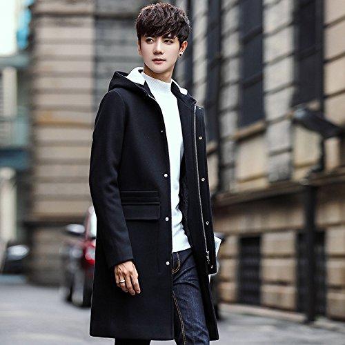 HDYS Los hombres abrigos largos de felpa de Sau, cremallera chaqueta cortavientos, negro, m: Amazon.es: Ropa y accesorios