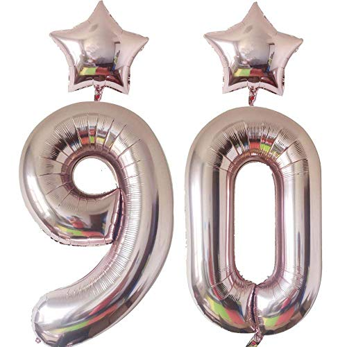 40inch Giant Foil Mylar 90 Balloons Number Rose Gold for Happy Birthday Party Supplies,Anniversary Decorations for Men,Women|Supported Helium