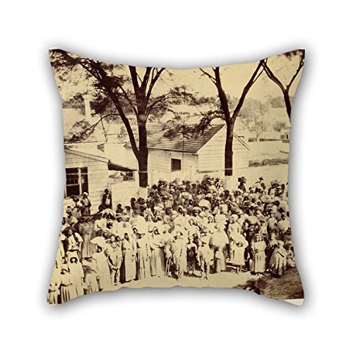 Oil Painting Timothy H. O'Sullivan (American - Slaves, J. J. Smith's Plantation, South Carolina Pillow Covers 18 X 18 Inches / 45 By 45 Cm For Him Saloon Teens Girls (Jj Winters Multi Zipper)