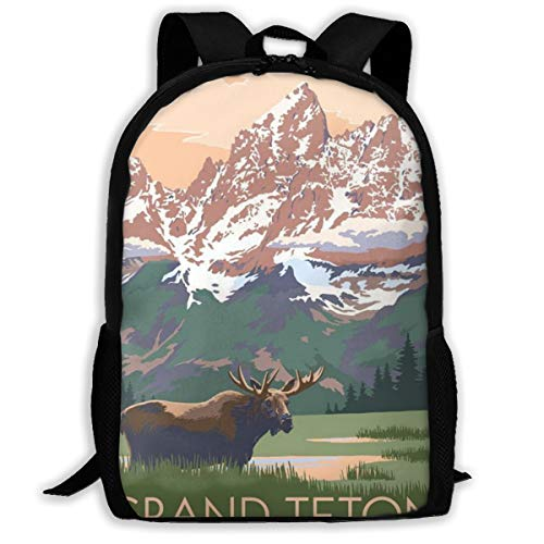 Oswz Grand Teton National Park - Moose and Mountains Travel Backpack Insulated Soft Lunch Cooler for Men Women, Best for Picnic, Hiking, Travel, Beach, Sports, Work