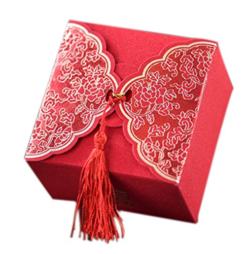 10Pcs Wedding Candy Red Macrame Bride And Groom Packaging Favors And Gifts Luxury Paper Box For Guest (Candies or chocolates not (Groom Candy Favor Bags)