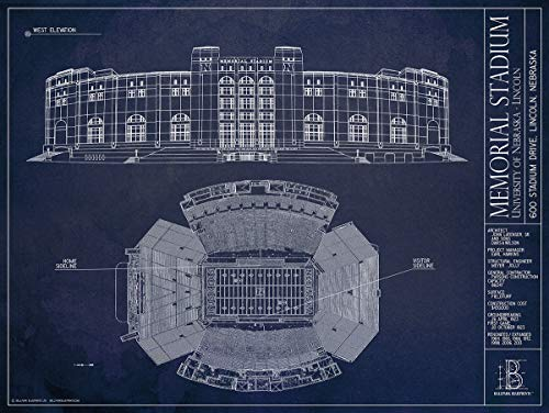Memorial Stadium - Nebraska Memorial Stadium Blueprint-Style Print