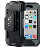 iPhone 5C Case, ULAK Apple iPhone 5C Case Hybrid [Dual Layer] Combo Holster Cover [Belt Clip] for Apple iPhone 5C - Black/Grey
