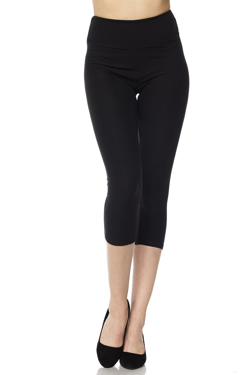 PALI USA Womens Solid Colors Brushed Capri Leggings with 3 inches Waistband (Black, Plus Size(12-24))