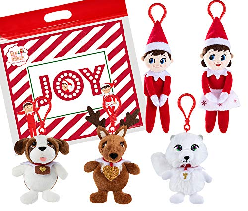 The Elf on the Shelf Plushee Mini Pals 4 Clip-Ons Set of 5, with Exclusive Joy Travel Bag