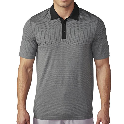 adidas Golf Men's Climacool Primeknit Polo, Black/Vista Grey S, Large ()