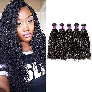 YOLANDEK Human Hair Brazilian Curly Bundles Afro Kinky Curly Hair Weave 100% Unprocessed 8A Virgin Hair Extensions 5…