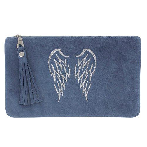 Borsa in Camoscio ricamato Due Angel Wings Colore Blu