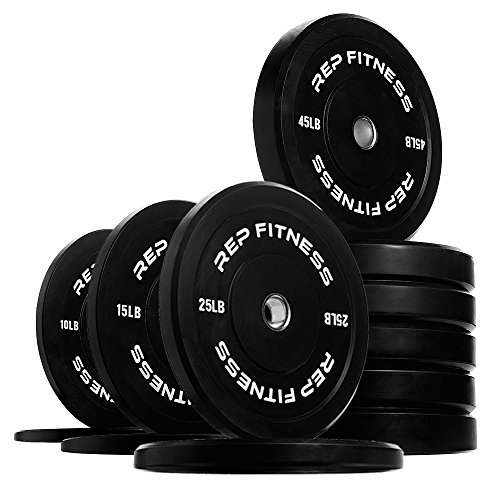 Rep Bumper Plates for Strength and Conditioning Workouts and Weightlifting 370 lb Set