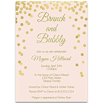bridal shower invitations blush pink confetti glitter sparkle wedding shower