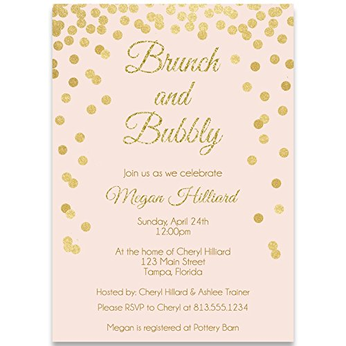 Shower Printed Confetti (Bridal Shower Invitations, Blush, Pink, Confetti, Glitter, Sparkle, Wedding Shower, Champagne Brunch, Personalized, Set of 10 Custom Printed Invites with Envelopes, Brunch & Bubbly, Vertical)