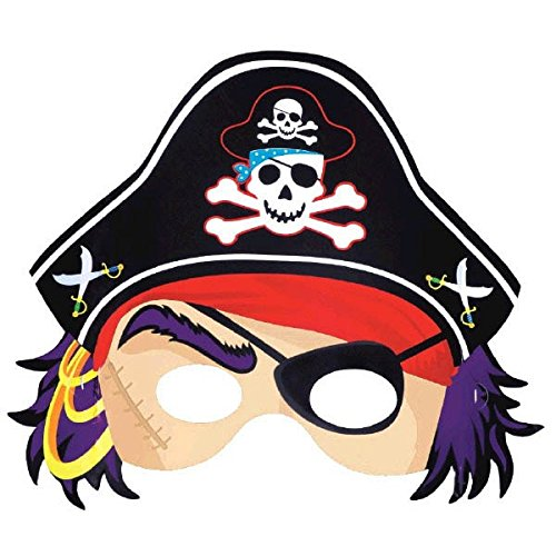 (Amscan Pirate's Treasure Themed Party Face Mask Favour, Paper, 8